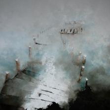 Le ponton, huile sur toile 120x120cm, 2015