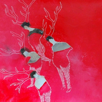 la meute huile sur toile 36x36cm 2014 @ Nathalie Leverger