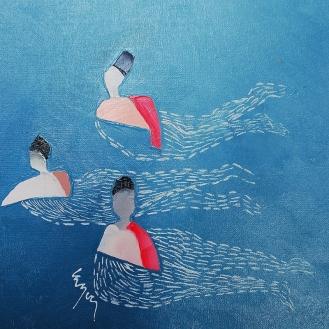 Dans la vague huile sur toile 30x30cm 2014 @ Nathalie Leverger