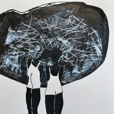 la-nuit-les-etoiles-15x15cm-encre-et-huile-sur-papier-2012