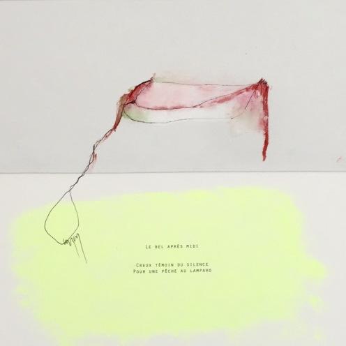 Le bel après midi , huile et encre sur toile, impression poème sur papier ,31x31cm @ Nathalie Leverger