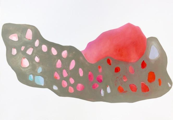 le reflet dans le nuage 150x70cm huile sur papier marouflée sur toile et détourée
