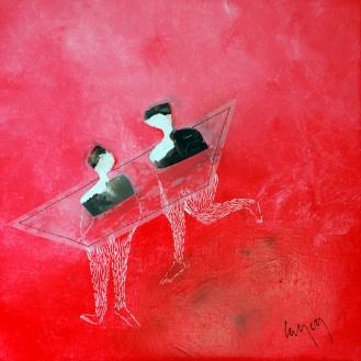 maman les petits bateaux huile sur toile 30x30cm Nathalie Leverger