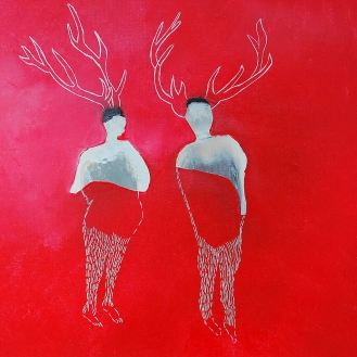 Rencontre au coin du bois huile sur toile 30x30cm Nathalie Leverger
